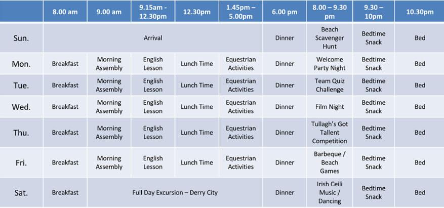 English Horse timetable w1