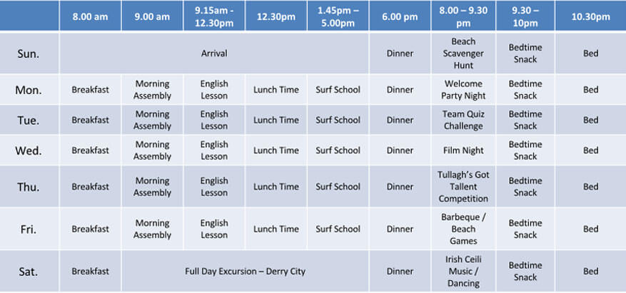 English Surfing Timetable w1