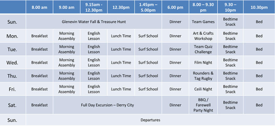 English Surfing Timetable w2