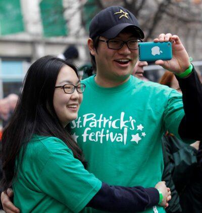 Couple enjoying St Patricks Day in Ireland