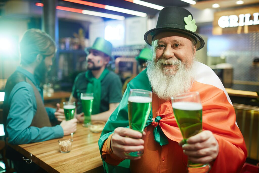 Irish man in pub on saint patrick's day